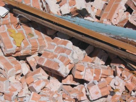 Wood-brick pile
