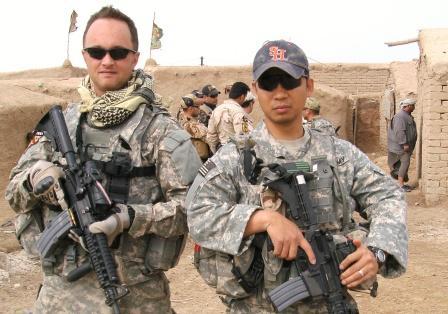 Chris McCafferty with a buddy in Iraq, 2010