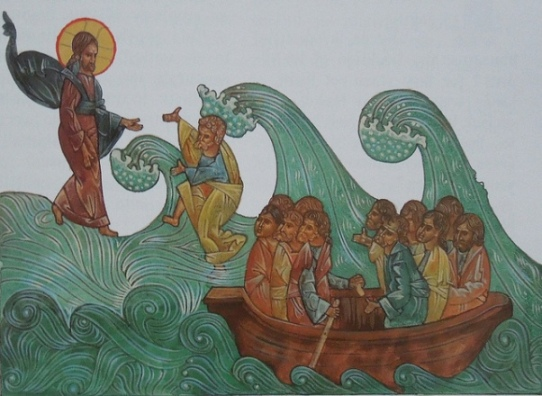 Icon of Jesus and Peter walking on water