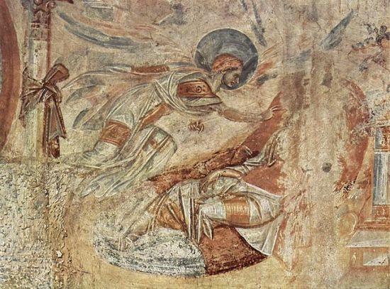 Joseph's Dream, Byzantine fresco at Castelseprio