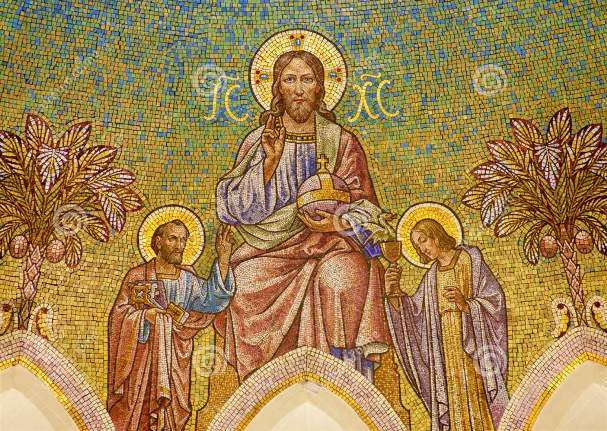 http://www.dreamstime.com/royalty-free-stock-photos-madrid-mosaic-jesus-christ-apostle-peter-john-main-apse-iglesia-de-san-manuel-y-san-benito-architect-fernando-arbã-s-cent-march-image29882398