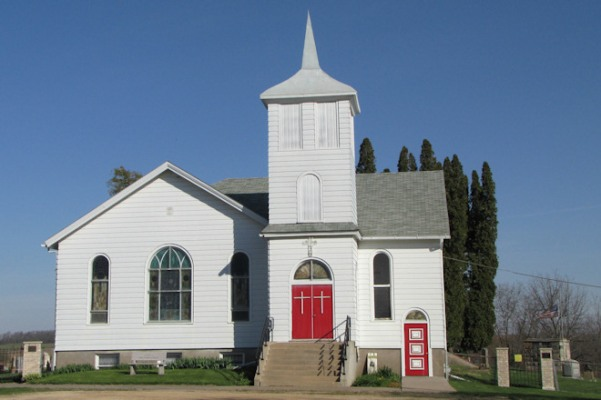 Archetype small-town church in Iowa