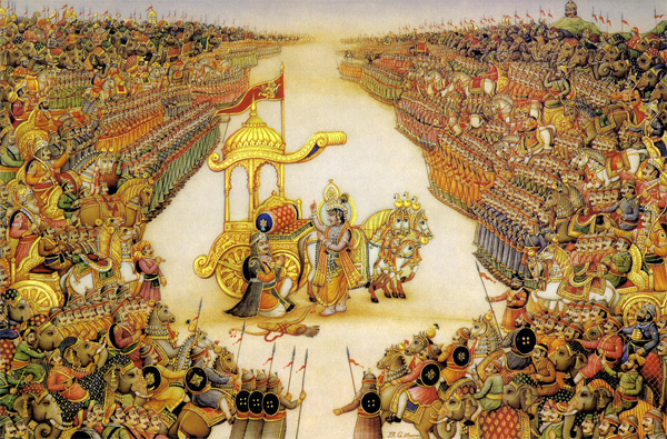 Warrior Arjuna and incarnated Krishna converse on a divided battlefield: To fight or not to fight; to be true, or not, to one's dharma, one's sacred duty.