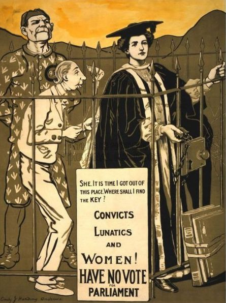 Women's suffrage propaganda poster: Some southern states declined to pass the women's suffrage amendment for decades