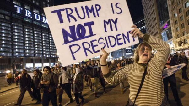 Anti-Trump demonstrators in New York City: Tantrum not protest.